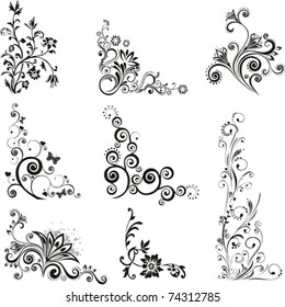 Collection of design elements isolated on White background. Vector illustration