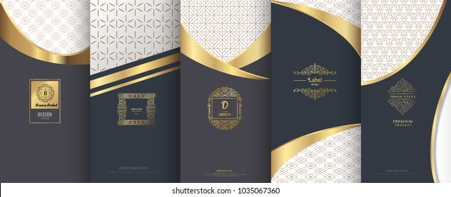 Collection of design elements, labels, icon, frames, for packaging, design of luxury products. Made with golden foil. Isolated on bronze and geometric background. vector illustration