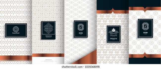 Collection of design elements, labels, icon, frames, for packaging, design of luxury products.Made with golden foil.Isolated on silver and bronze background. vector illustration