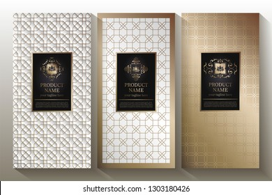 A collection of design elements, labels, icons, frames, for the design of luxury packaging. With gold foil isolated on white background. Vector