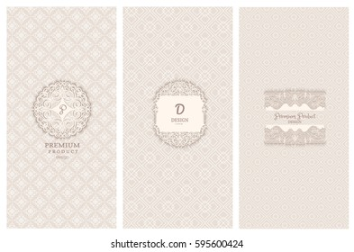 Collection of design elements, labels,icon and frames for packaging and design of luxury products. with paper art design Isolated on brown background. vector illustration