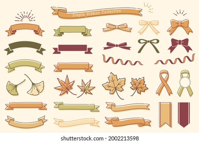 Collection of design elements with a ribbon motif (Autumn color)