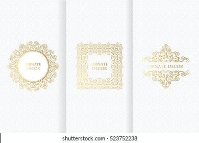 Collection of design elements,labels,icon. Template frame for save the date, birthday, greeting card, wedding invitation, leaflet, poster. Golden frames on  white background.