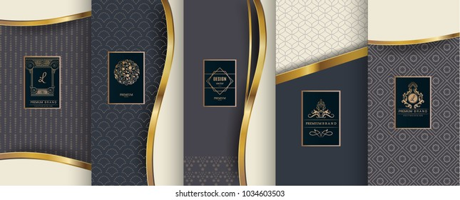 Collection of design elements,labels,icon,frames, for packaging,design of luxury products.Made with golden foil.Isolated on  blue color background. vector illustration