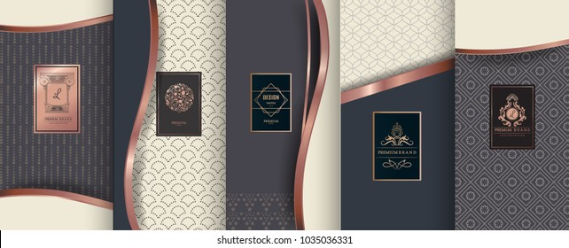 Collection of design elements,labels,icon,frames, for packaging,design of luxury products.Made with golden foil.Isolated on geometric background. vector illustration
