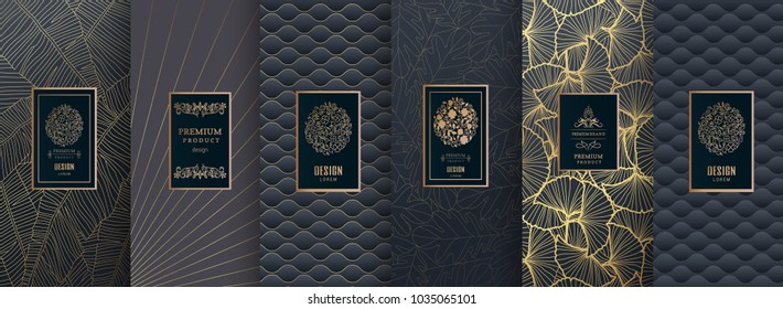 Collection of design elements,labels,icon,frames, for packaging,design of luxury products.Made with golden foil.Isolated on blue and geometric background. vector illustration
