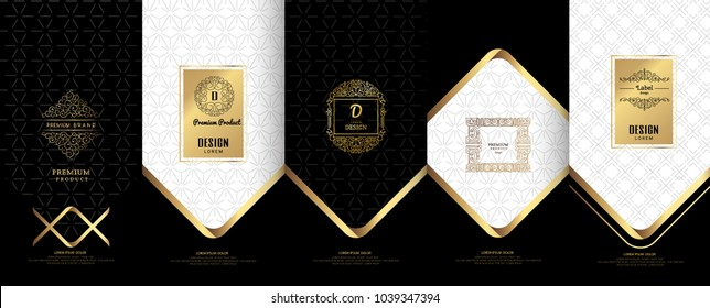 Collection of design elements,labels,icon,frames, for packaging,design of luxury products. for perfume, soap, wine, lotion.Made with golden foil.Isolated on black background. vector illustration