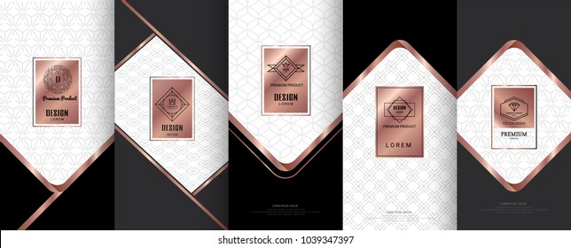 Collection of design elements,labels,icon,frames, for packaging,design of luxury products. for perfume, soap, wine, lotion.Made with copper foil.Isolated on black background. vector illustration