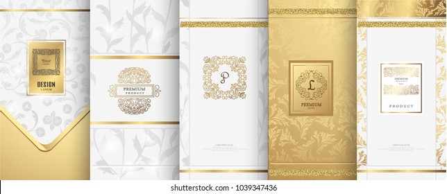 Collection of design elements,labels,icon,frames, for packaging,design of luxury products.for perfume,soap,wine, lotion. Made with golden foil.Isolated on white background.vector illustration