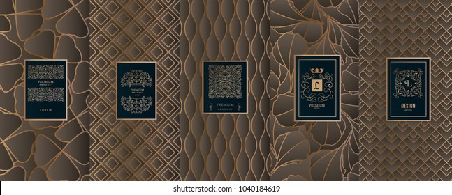 Collection of design elements,labels,icon,frames, for packaging,design of luxury products.for perfume,soap,wine, lotion.Made with golden foil.Isolated on geometric background.vector illustration