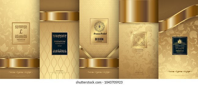 Collection of design elements,labels,icon,frames, for packaging,design of luxury products.for perfume,soap,wine, lotion. Made with golden foil.Isolated on gold color background.vector illustration