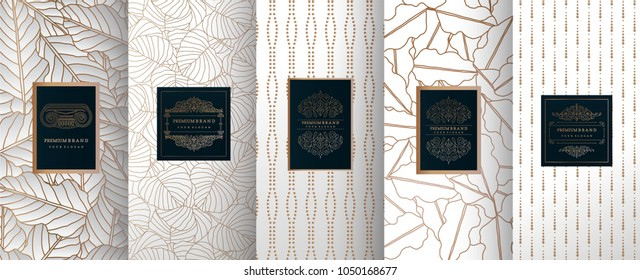 Collection of design elements,labels,icon,frames, for packaging,design of luxury products.for perfume,soap,wine, lotion.Made with golden foil.Isolated on silver background.vector illustration