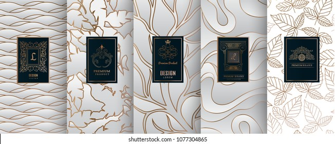Collection of design elements,labels,icon,frames, for packaging,design of luxury products.for perfume,soap,wine, lotion.Made with silver foil.Isolated on line background.vector illustration