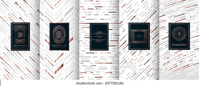 Collection of design elements,labels,icon,frames, for packaging,design of luxury products.for perfume,soap,wine, lotion.Made with silver foil.Isolated on geometric background.vector illustration