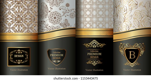 Collection of design elements,labels,icon,frames, for packaging,design of luxury products. Made with golden foil. Golden vintage design elements. Elegant Decorative ornament for wallpaper, fabric.