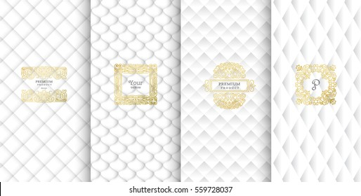 Collection of design elements,labels,icon,frames, for packaging,design of luxury products.Made with golden foil.Isolated on white background. vector illustration