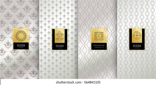 Collection of design elements,labels,icon,frames, for packaging,design of luxury products.Made with golden foil.Isolated on silver background. vector illustration