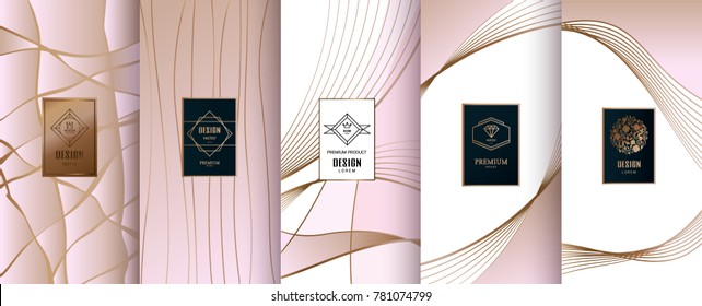 Collection of design elements,labels,icon,frames, for packaging,design of luxury products.Made with golden foil.Isolated on pink background. vector illustration