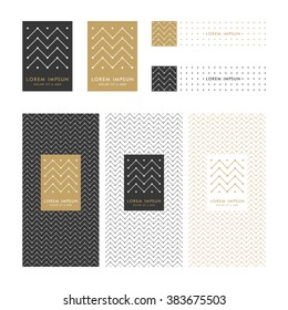 Collection of design elements,labels,icon,frames,seamless pattern for packaging,design of luxury products.Made with golden foil.Trendy linear,art deco,hipster,tribal style.Isolated on white background