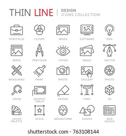 Collection of design thin line icons