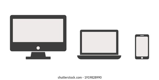Collection of Desktop computer , laptop tablet and Smartphone icons vector color editable