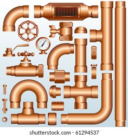 Collection of detailed Brass Pipeline construction pieces:Vector pipes, fittings, valves, faucet, ells, flange, couplers, parts...--to see similar images, please visit my Gallery
