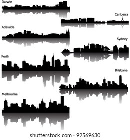 Collection  of Detailed vector silhouettes of Australian cities