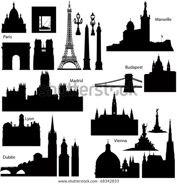Collection of Detailed vector silhouettes of European famous monuments