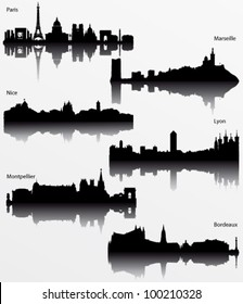 Collection of Detailed vector silhouettes of French cities