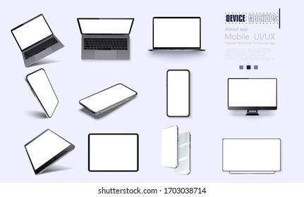 A collection of device at different angles. Vector illustration mockups. Collection mobile devices isolated on white background. Smartphone, laptop, tablet, tv perspective view. Rotated position.UI/UX