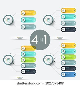 Collection of diagrams with main circle connected to rounded elements with thin line pictograms and place for text inside. Colorful infographic design templates. Vector illustration for presentation.