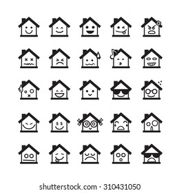 Collection of difference emoticon icon of home on the white background vector illustration