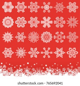 collection of different abstract snow flakes for christmas and winter time