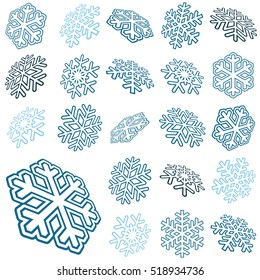collection of different abstract three dimensional blue snow flakes