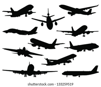 Collection of different airplane silhouettes 2-vector