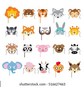 Collection of different animal masks on face. Mask of lion, bear, tiger, rabbit, monkey, cat, fox, owl, hare, giraffe, deer, panda, pig, dog, zebra, elephant, sheep, cow, squirrel. Flat desing. Vector