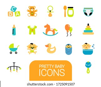 Collection of different baby icons. Fun colored icons. Black background.