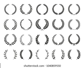 Collection of different black and white silhouette circular laurel foliate, olive,  wheat and oak wreaths depicting an award, achievement, heraldry, nobility. Vector illustration.