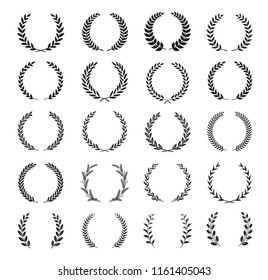 Collection of different black and white silhouette circular laurel foliate, wheat and olive wreaths depicting an award, achievement, heraldry, nobility. Vector illustration.