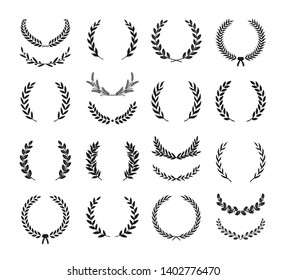 Collection of different black and white silhouette circular laurel foliate, wheat and oak wreaths depicting an award, achievement, heraldry, nobility. Vector illustration.