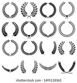 Collection of different black and white silhouette circular laurel foliate, olive,  wheat and oak wreaths depicting an award, achievement, heraldry, nobility. Vector illustration isolated on white bac