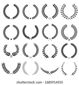 Collection of different black and white silhouette circular laurel foliate  and oak, wreaths depicting an award, heraldry, achievement, victory, crown, winner, ornate,Vector  icon illustration.