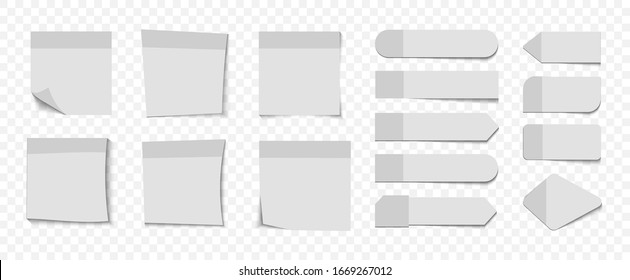 Collection of different  blank stickers. Post note stickers. Sticky tapes with space for text or message. Different sheets of note papers with curled corner. Sticky paper note with tape and shadow