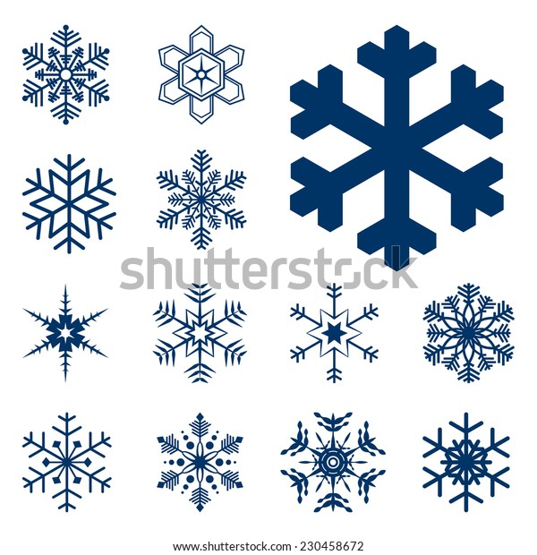 collection of different blue snowflakes on white background