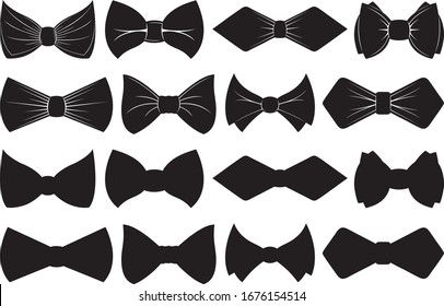 Collection of different bow ties isolated on white