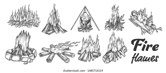 Collection Of Different Campfire Ink Set Vector. Forest Burning Firewood For Cooking Soup Meal. Warming Camping Tourist Campsite Light Element Hand Drawn In Vintage Style Monochrome Illustrations