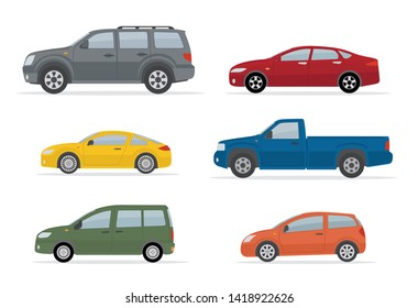Collection of different cars. Isolated on white background. Side view. Flat style, vector illustration.