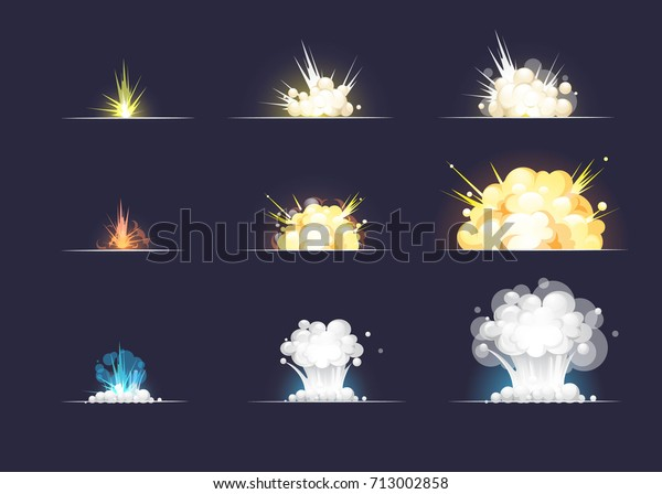 Collection Different Cartoon Explosion Effect Smoke Stock Vector