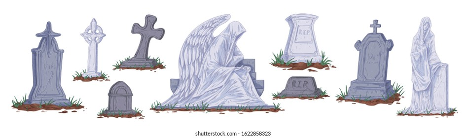 Collection of different cartoon tombstones vector graphic illustration. Set of gray gravestones and sculptures isolated on white background. Concept of halloween, funeral and cemetery