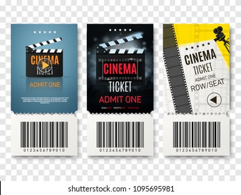 Collection of different cinema tickets. Vector illustration.